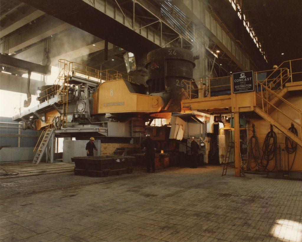 Twin-strand slab casting machine at Ravenscraig.
