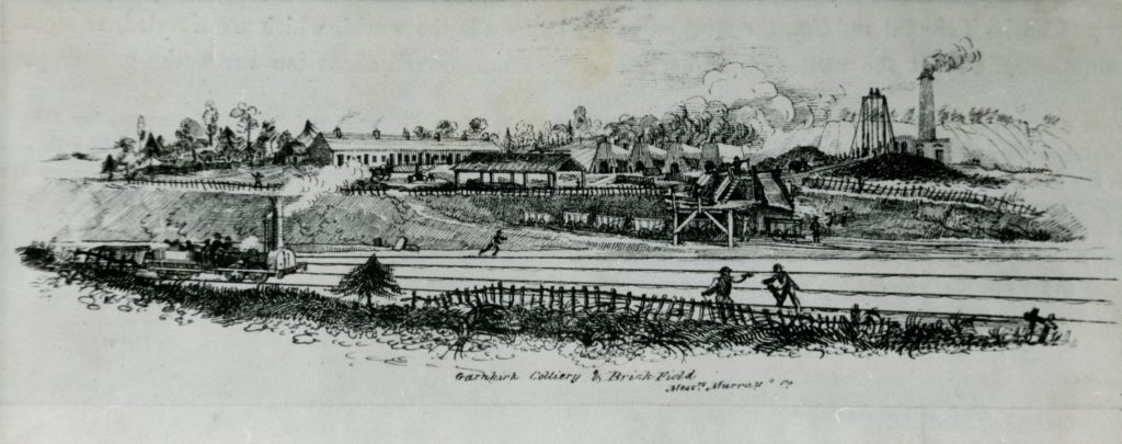 Artistic impression of Garnkirk Colliery and Brickfield from about 1835, which was owned by Messrs. Murray & Co.
