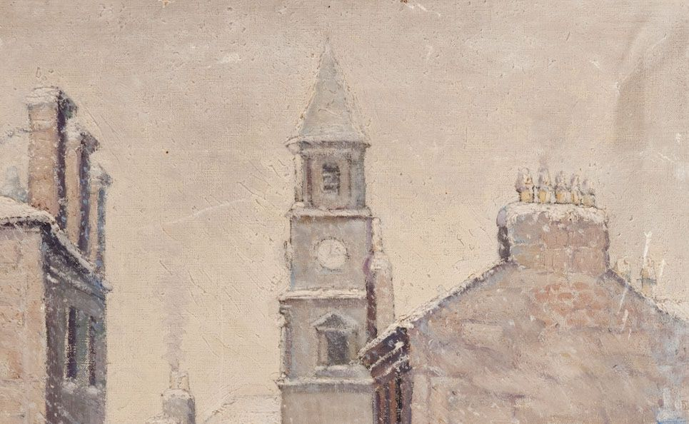 Detail of Market Street, Airdrie on a Snowy Day by George Cunningham Stevenson