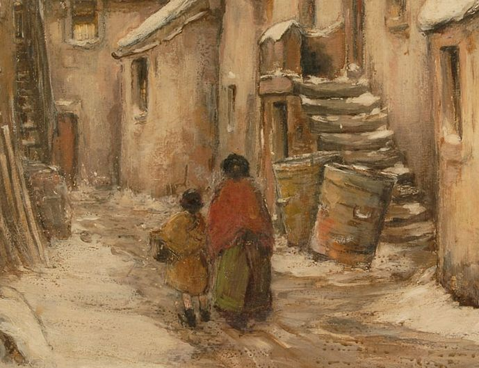 Detail of an oil painting showing a woman and young girl in skirts and shawls in a snowy street.