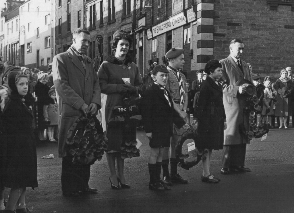 War memorial service outside the Bradford Cinema, Cumbernauld, around 1941-1964. Kind permission of Jim Walker