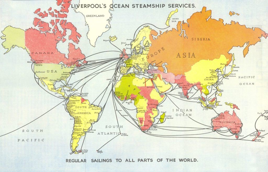 World map of steamship services from Liverpool