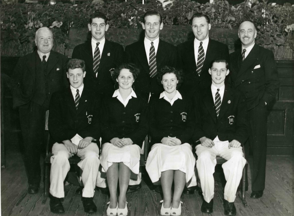 London Olympics Swimming Team, 1948: Crabb (right) with Johnston, Gentleman, Murray, J Wardrop, Gibson, Girvan and Harrop