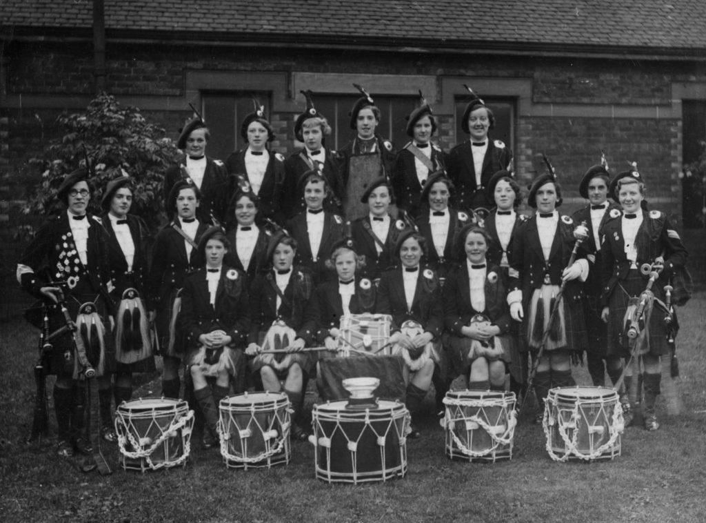 Coatbridge Ladies (also known as Scottish Ladies) Pipe Band, around 1950
