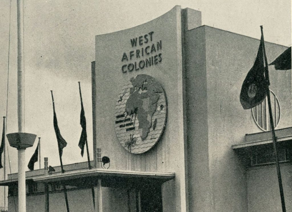 Detail of the West African Colonies pavilion from A Souvenir of the Empire Exhibition 1938