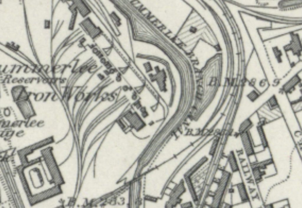 Summerlee Iron Works, 1859 OS map. You can see a short stretch of the Gartsherrie Burn survives at ground level beside the canal in the centre of the image.