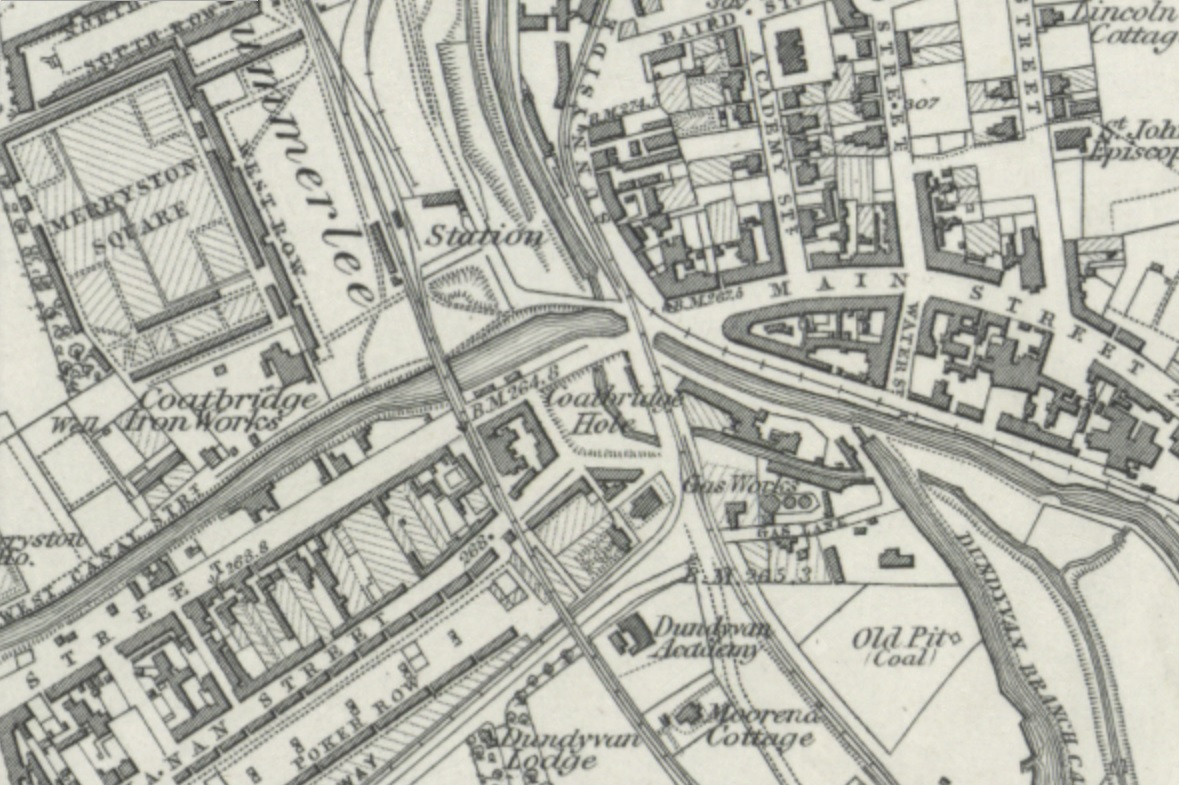The Coatbridge Hole as seen on the 1859 1st edition Ordnance Survey map (courtesy of the National Libraries of Scotland).
