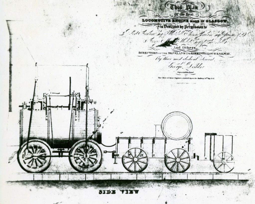 The Monkland and Kirkintilloch Railway's first steam locomotive, 1831.