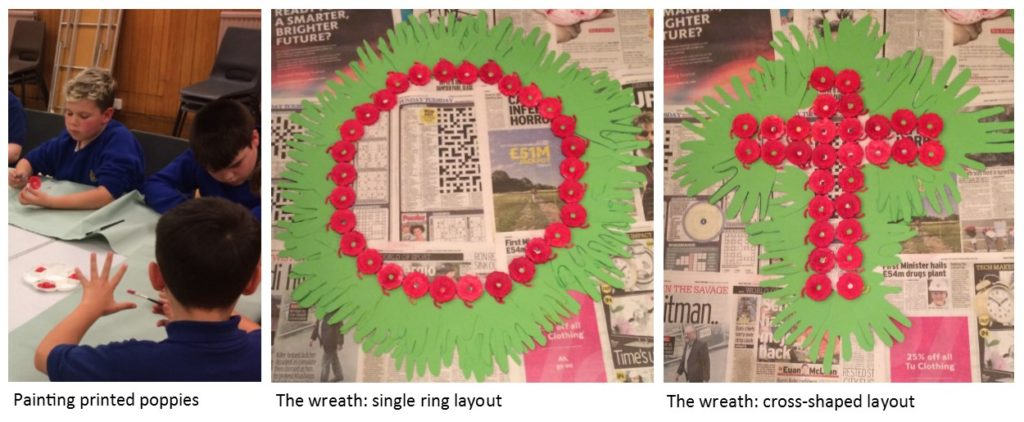 Painting printed poppies, the wreath in single right layout and in cross-shaped layout