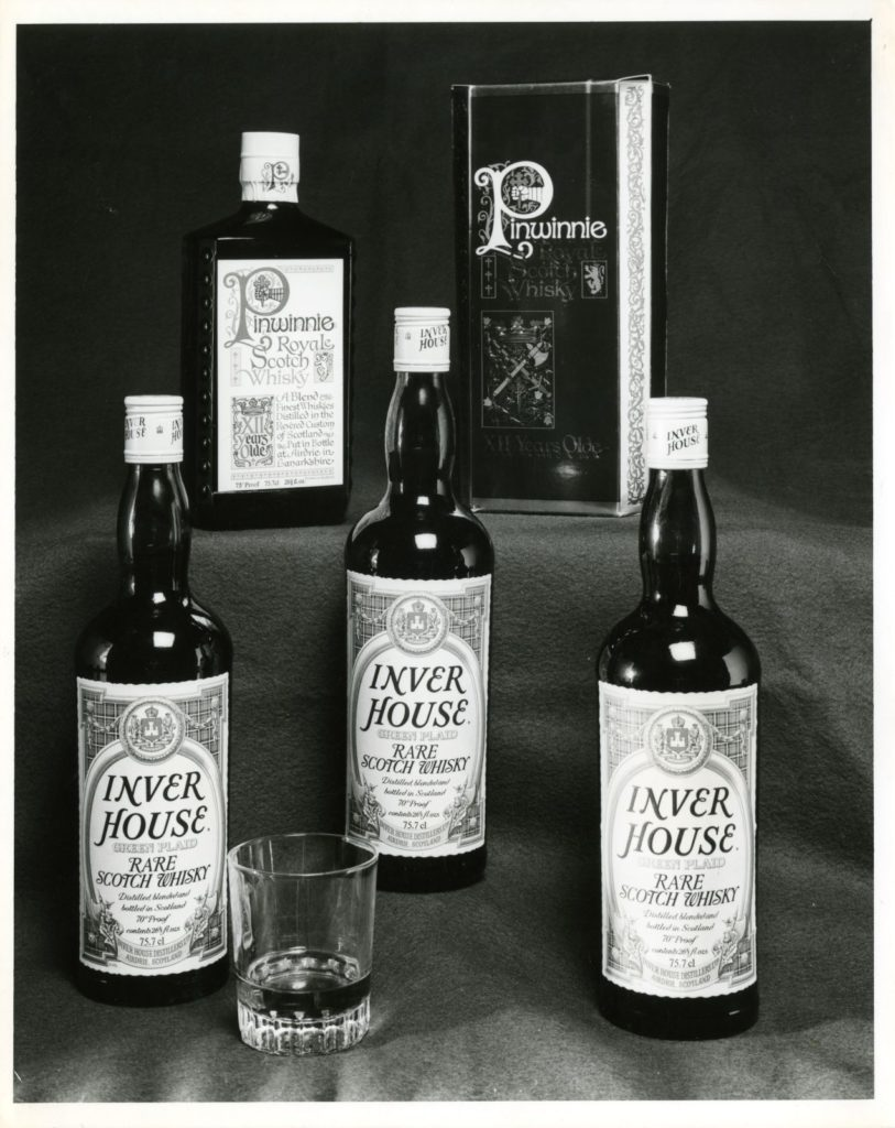 Green Plaid and Pinwinnie Royale Scotch Whisky products made by Inver House Distillers, Airdrie, around 1980
