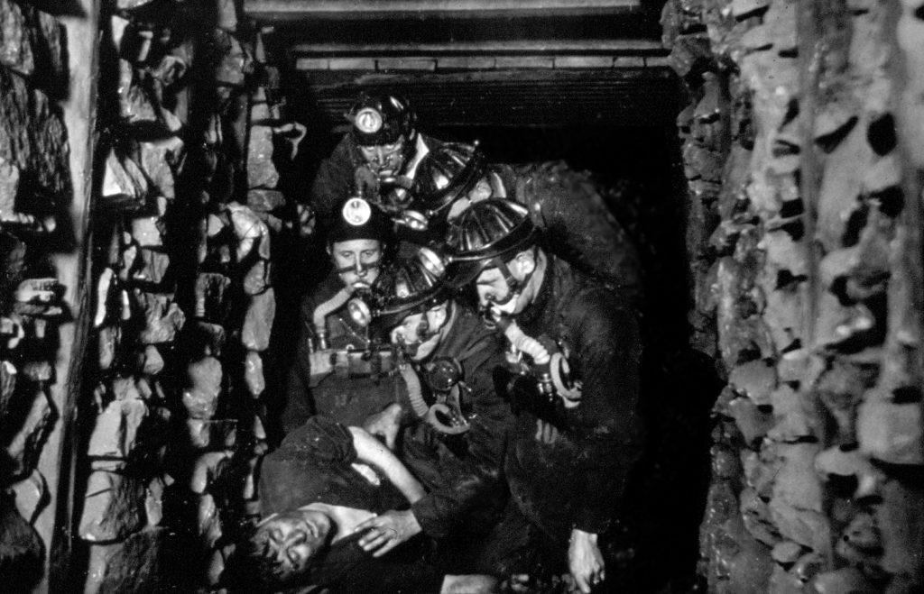 A training exercise in the replica mine at Coatbridge Mines Rescue, 1950s.