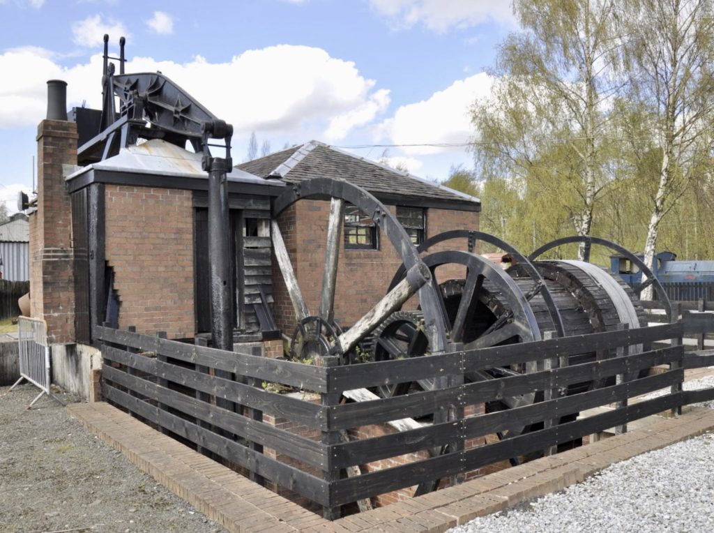 A Newcomen atmospheric engine installed at Farme Colliery, Rutherglen in 1810. This rotative engine was reportedly used to pump water from the mine as well as lift coal from underground.
