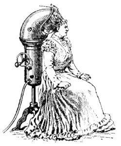 An early blow dryer pictured in the Encyclopédie Larousse Illustréee 1900 (Wikimedia Commons)