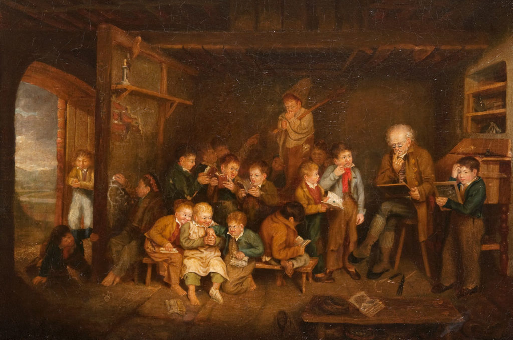 The Dominie by George Harvey (1806-1876), mid 1800s is an oil painting depicting a rustic classroom of young children around an old school master.