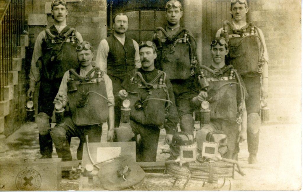 Postcard image of Coatbridge Mines Rescue Brigade, around 1920