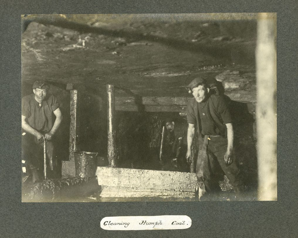 Wooden roof supports in Camp Colliery near Motherwell, around 1910.