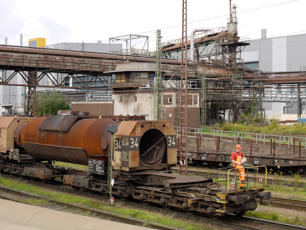 A 'torpedo car' transporting molten iron to a steel works in Germany, 2010.