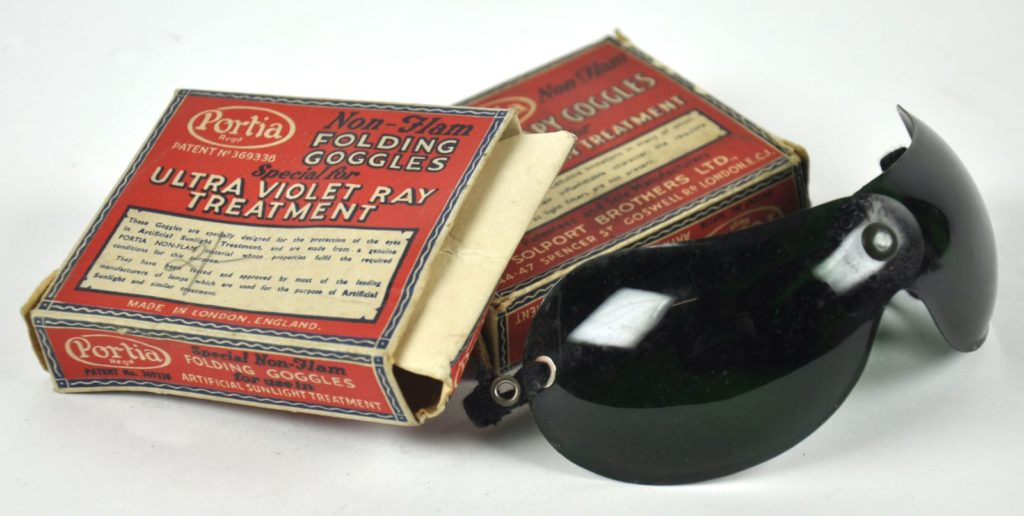 Protective goggles for UV light treatment, around 1930