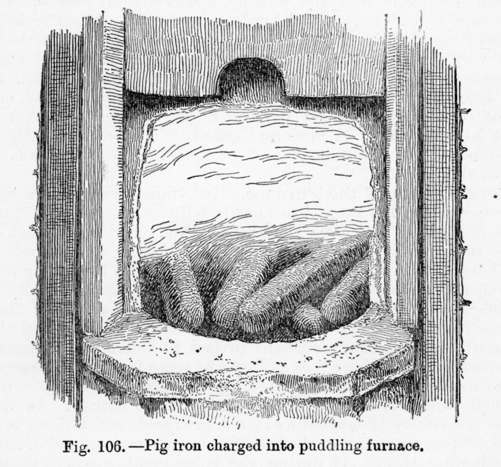Illustration of pig iron after it has been put into the puddling furnace. From 'The Metallurgy of Iron' by Thomas Turner, 1920.