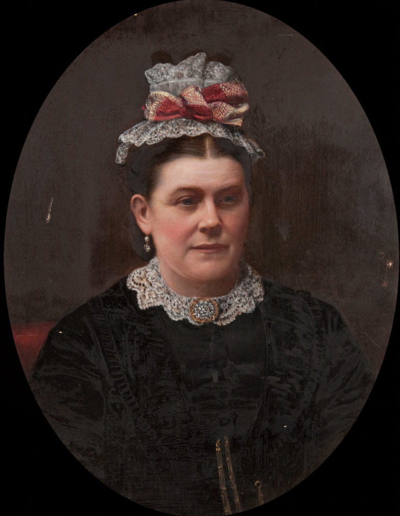 Mrs Thomas Ellis (d.1895) by unknown artist, mid to late 1800s. The subject's own name was Sarah Leonard.