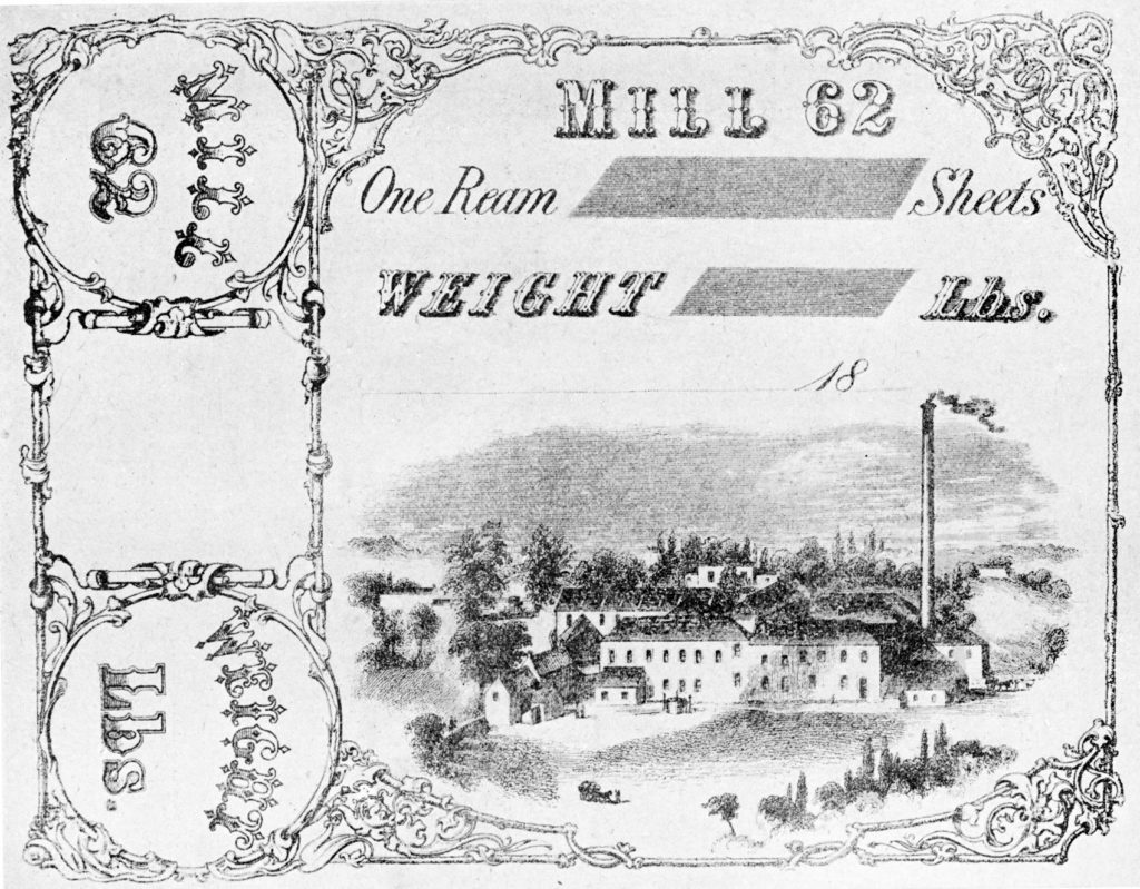 Moffat Mills in Airdrie depicted on a paper ream label, arouind 1870.