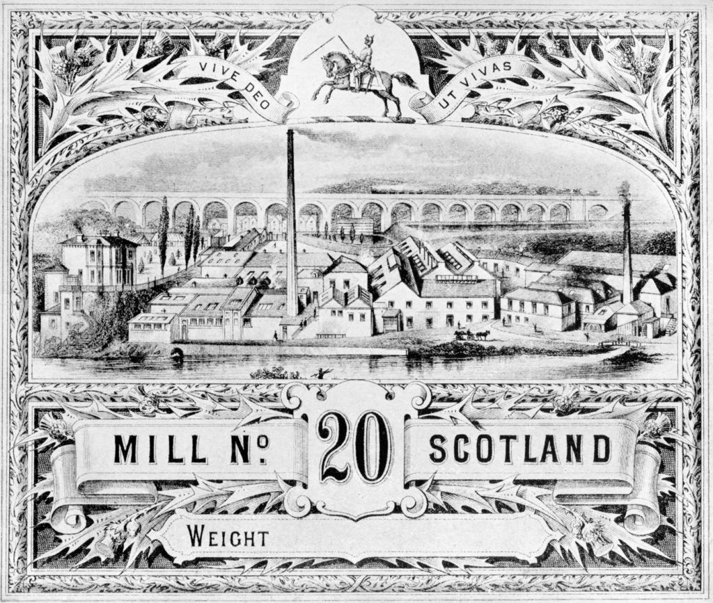 Newbattle Mills, from a paper ream packaging label. Newbattle Viaduct is in the background.