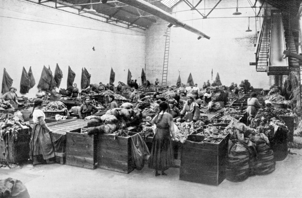 A rag-sorting house at Caldercruix Mills, around 1920