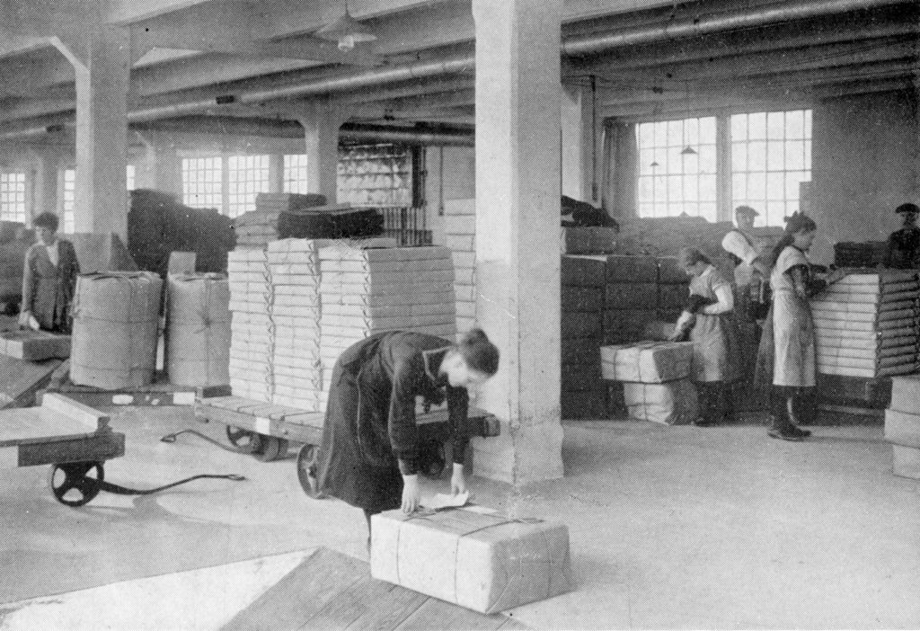 Women and girls in the packing room at Moffat Mills, around 1920.