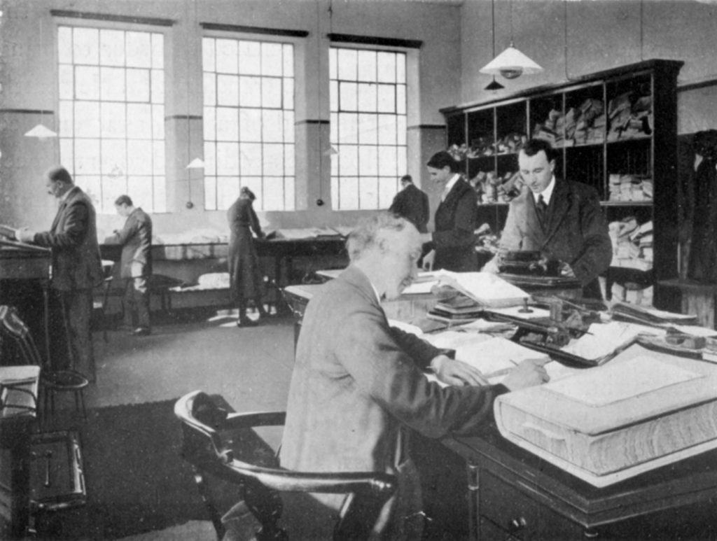 Men in the Costing Department at Moffat Mills, around 1920.