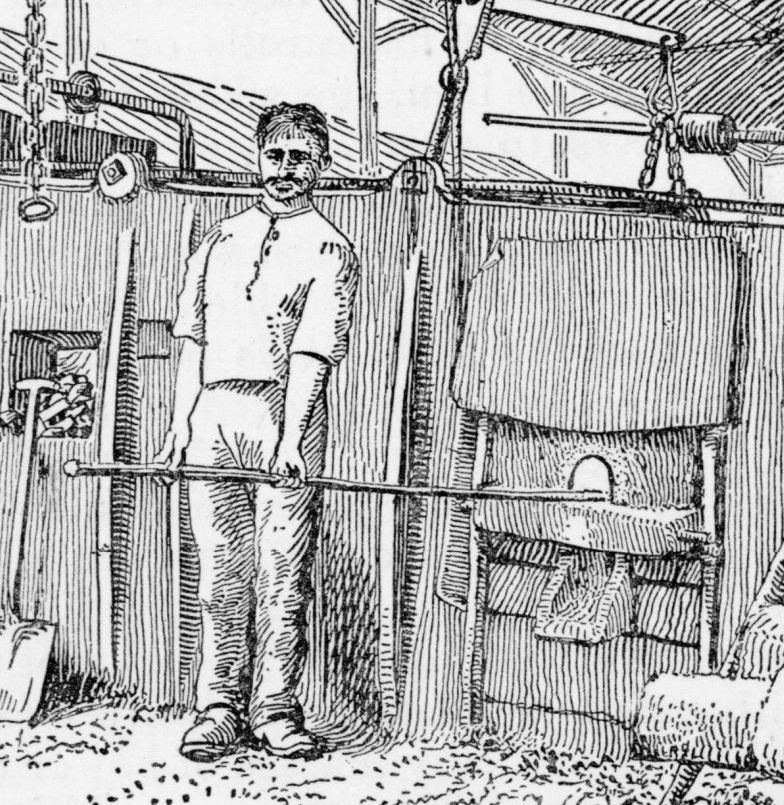 Illustration of a puddler at work, 1920.