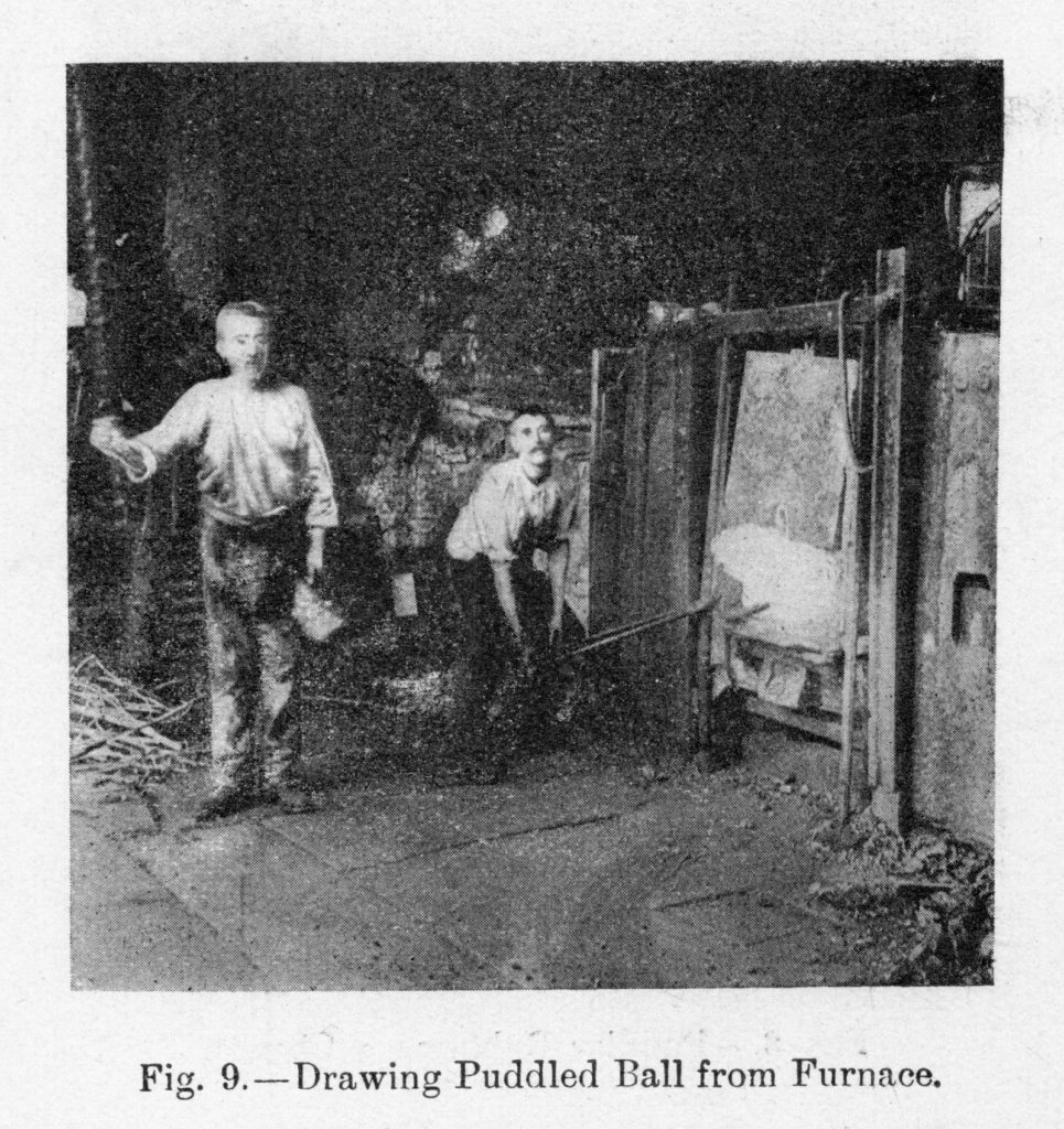 Removing the ball of puddled iron from the furnace took immense strength.