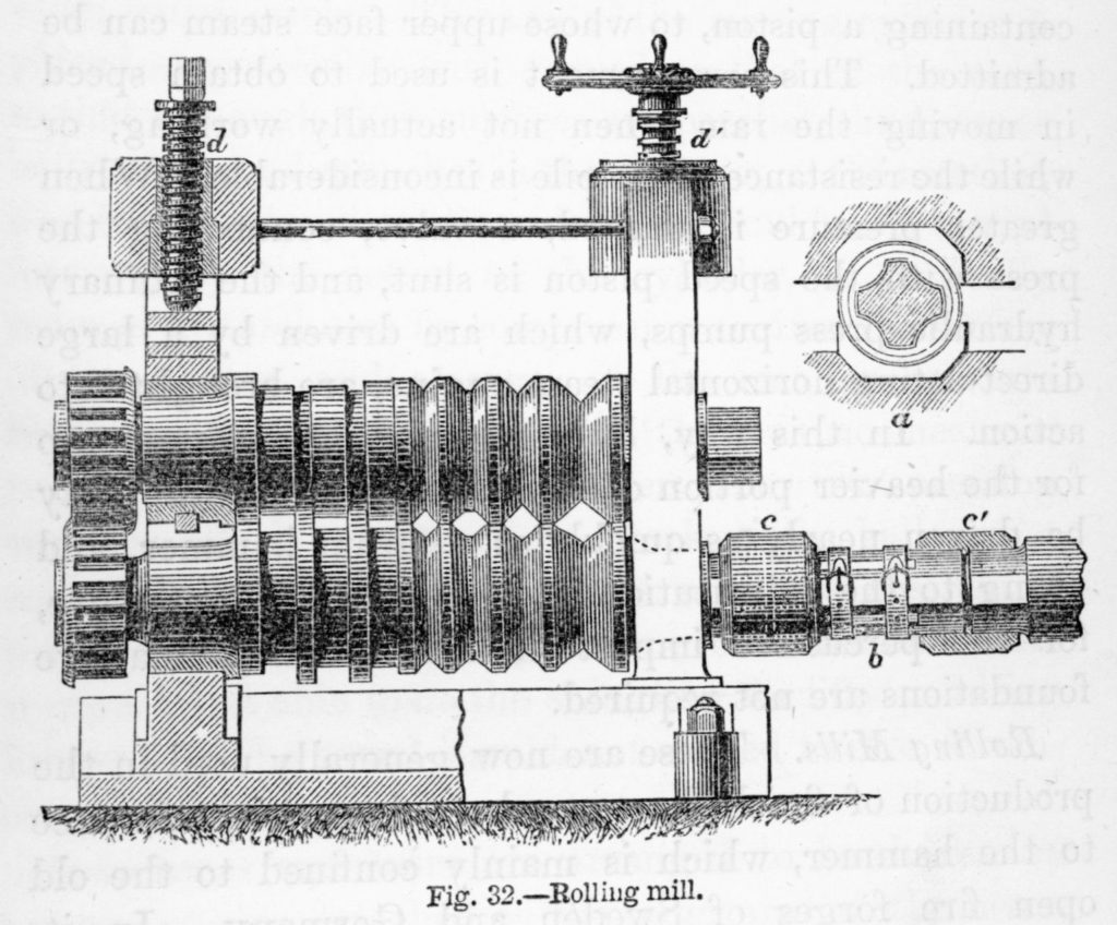 A closer view of a mill stand showing the different-shaped gaps between the rolls. The screw mechanism on top raises and lowers the top roll to vary the distance between the two rolls.
