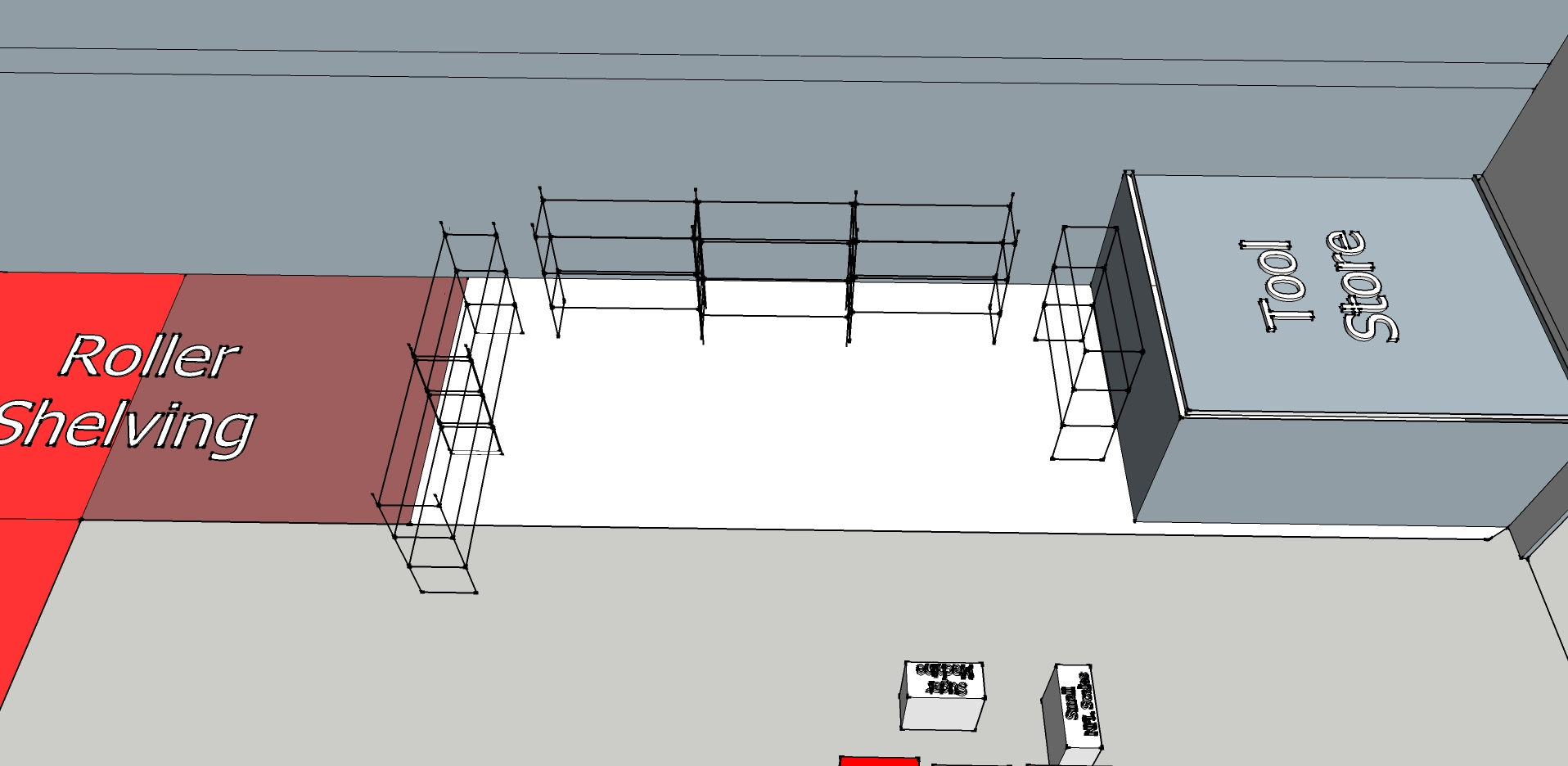 One of three alternative new layouts for pallet racking that were discussed before a final decision was made.