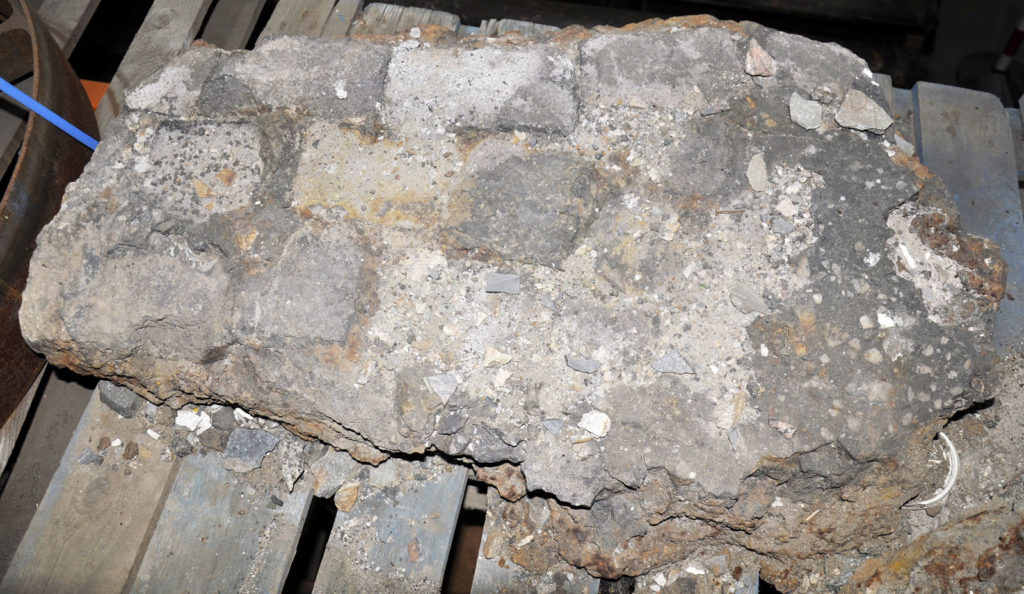 Part of the lining of a puddling furnace found during excavations on the site of Moffat Upper Forge.