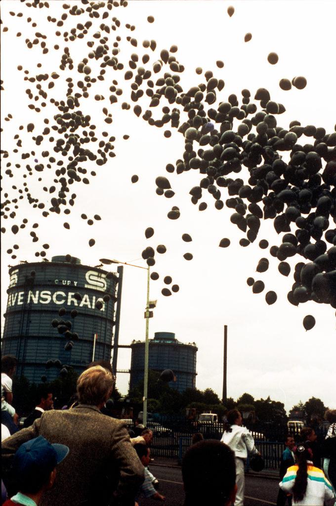Black balloons released to mark the closure Ravenscraig Steel Works in 1992.