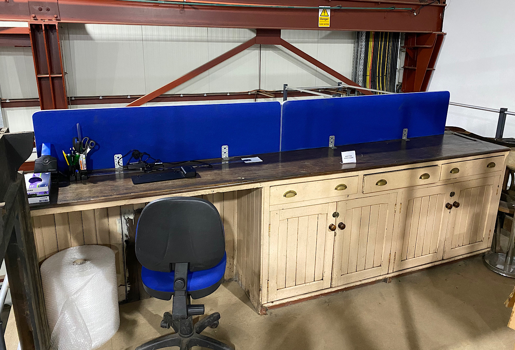 This desk which was collected from the Sheepford Boiler Works in Coatbridge had been in storage for 30 years. It was re-purposed as a working space on the mezzanine.