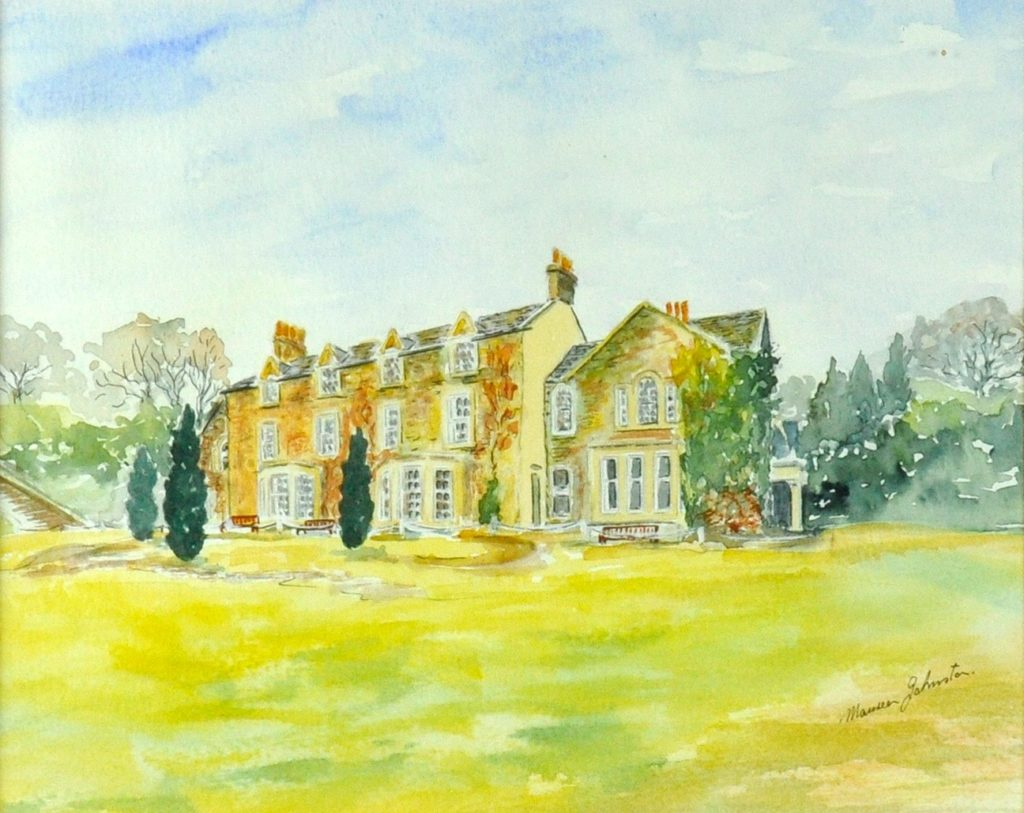 Watercolour depicting /colzium House and gardens
