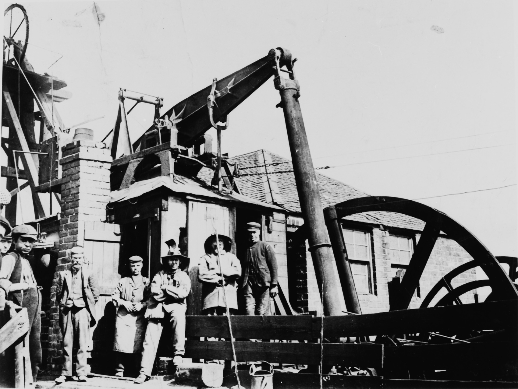 The 1810 Newcomen winding engine at Farme Colliery, Rutherglen. Seen here in the 1870s the engine is now on display at Summerlee Museum, Coatbridge.