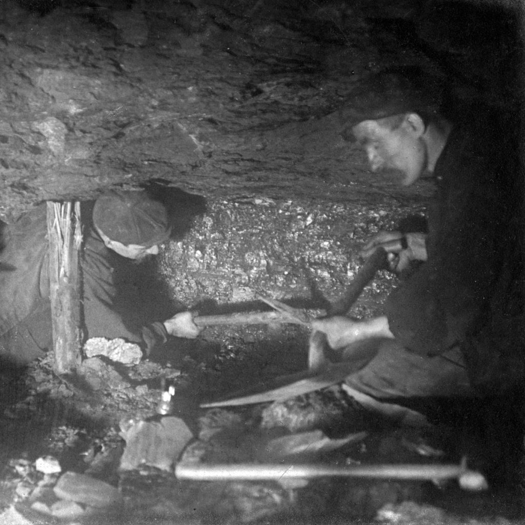 Miners at a coal face in Motherwell's Camp Colliery, around 1910.