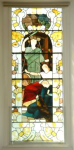 A stained glass window in Colzium House