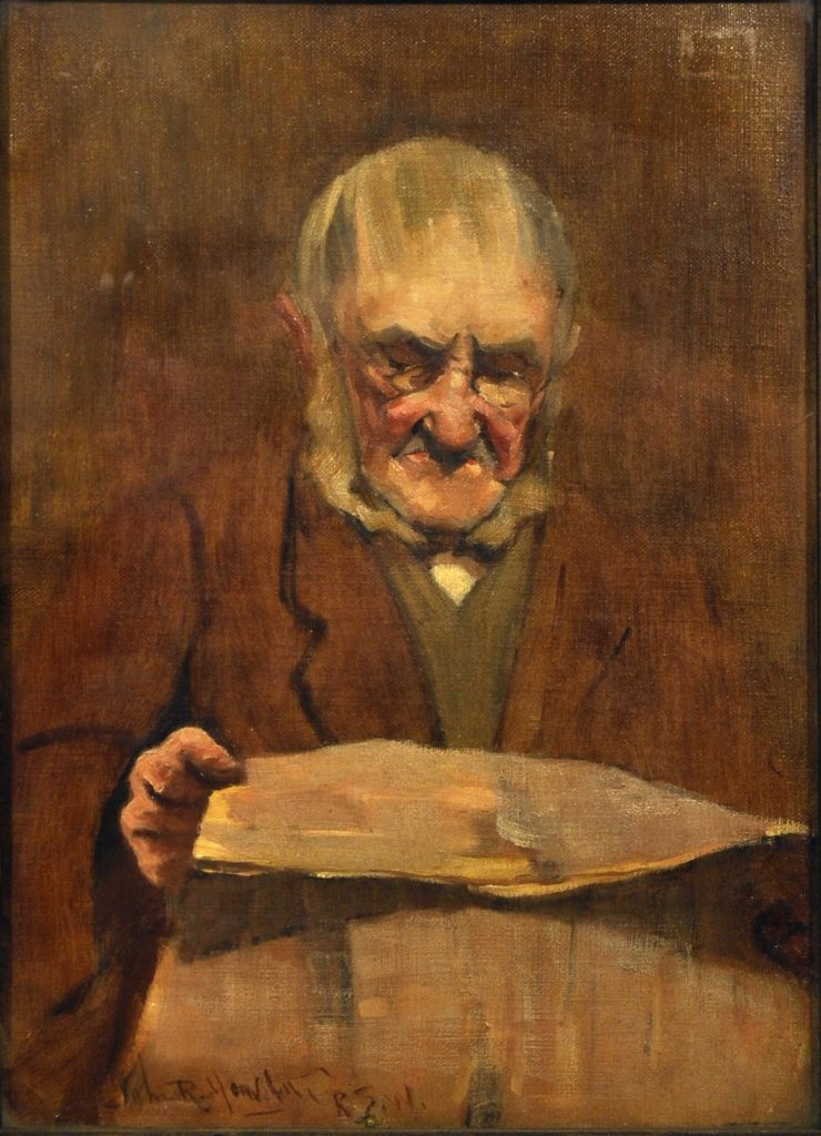 Detail from an oil painting depicting an elderly man wearing glasses reading a newspaper
