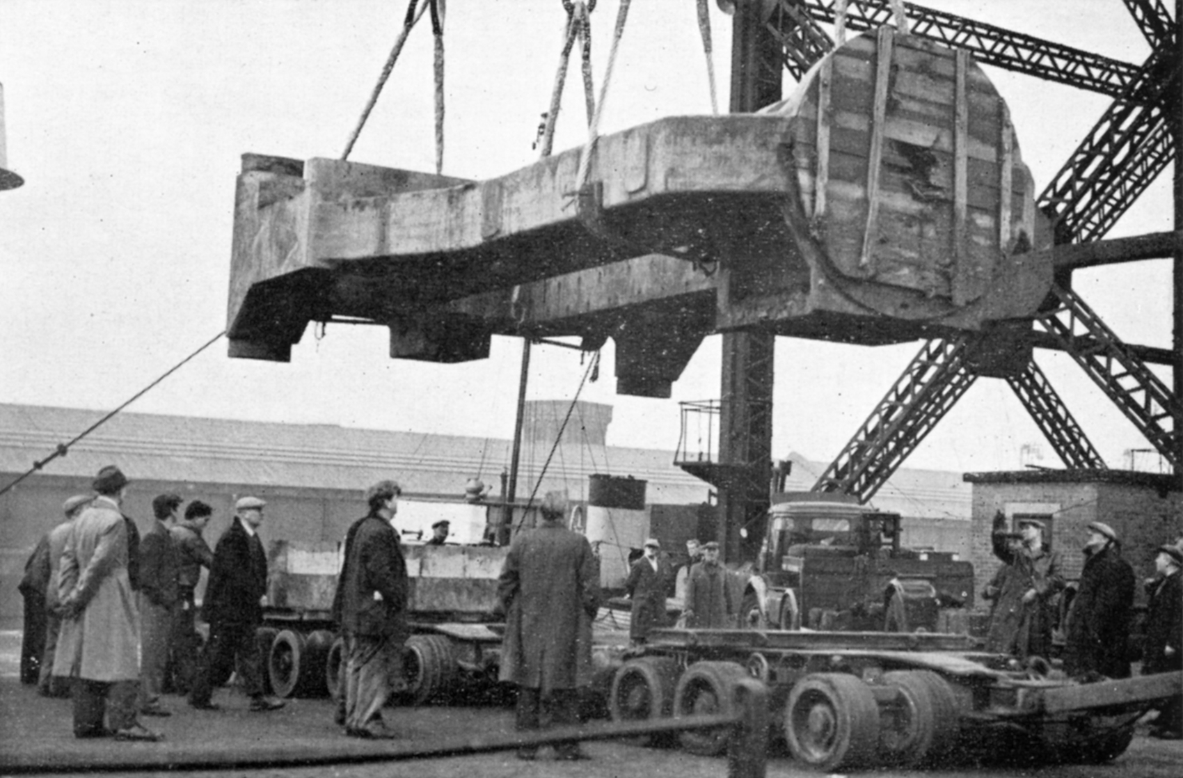 One of the rolling mill housings rescued from the bottom of the Mersey finally arrives in Glasgow, March or April 1961.