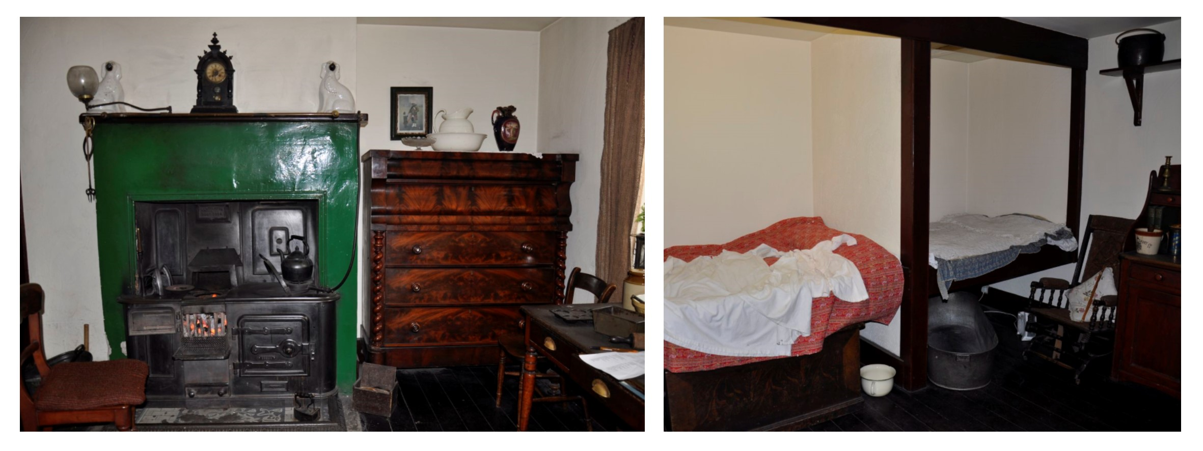 Two photographs showing the interior of the 1910s cottage at Summerlee, with cast iron range and recessed beds