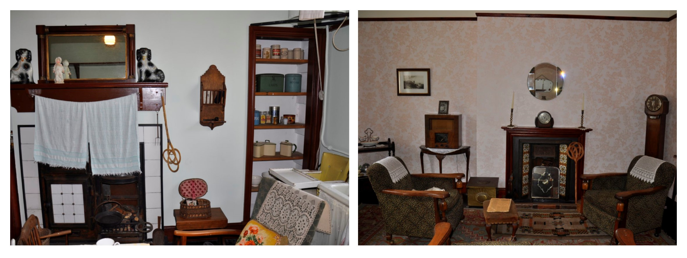 Two photographs showing the interior of the 1940s cottage kitchen and living room at Summerlee