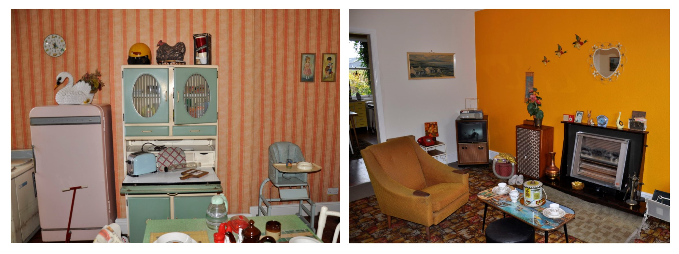 Two photographs showing the brightly coloured kitchen and living room of the 1960s cottage at Summerlee, with cast iron range and recessed beds