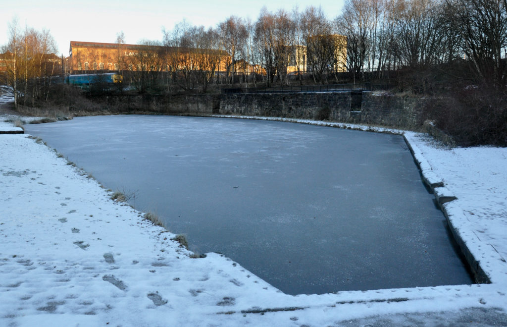 Howes Basin frozen over in December 2012. The coal drops are visible on the other side.