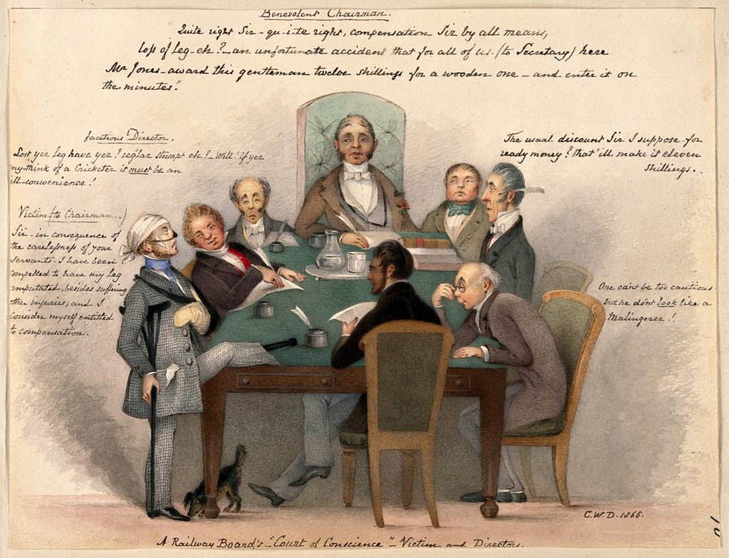 Annotated colour sketch of a group of men seated around a board table, examining a man with bandaged head as he rests his peg leg on the table