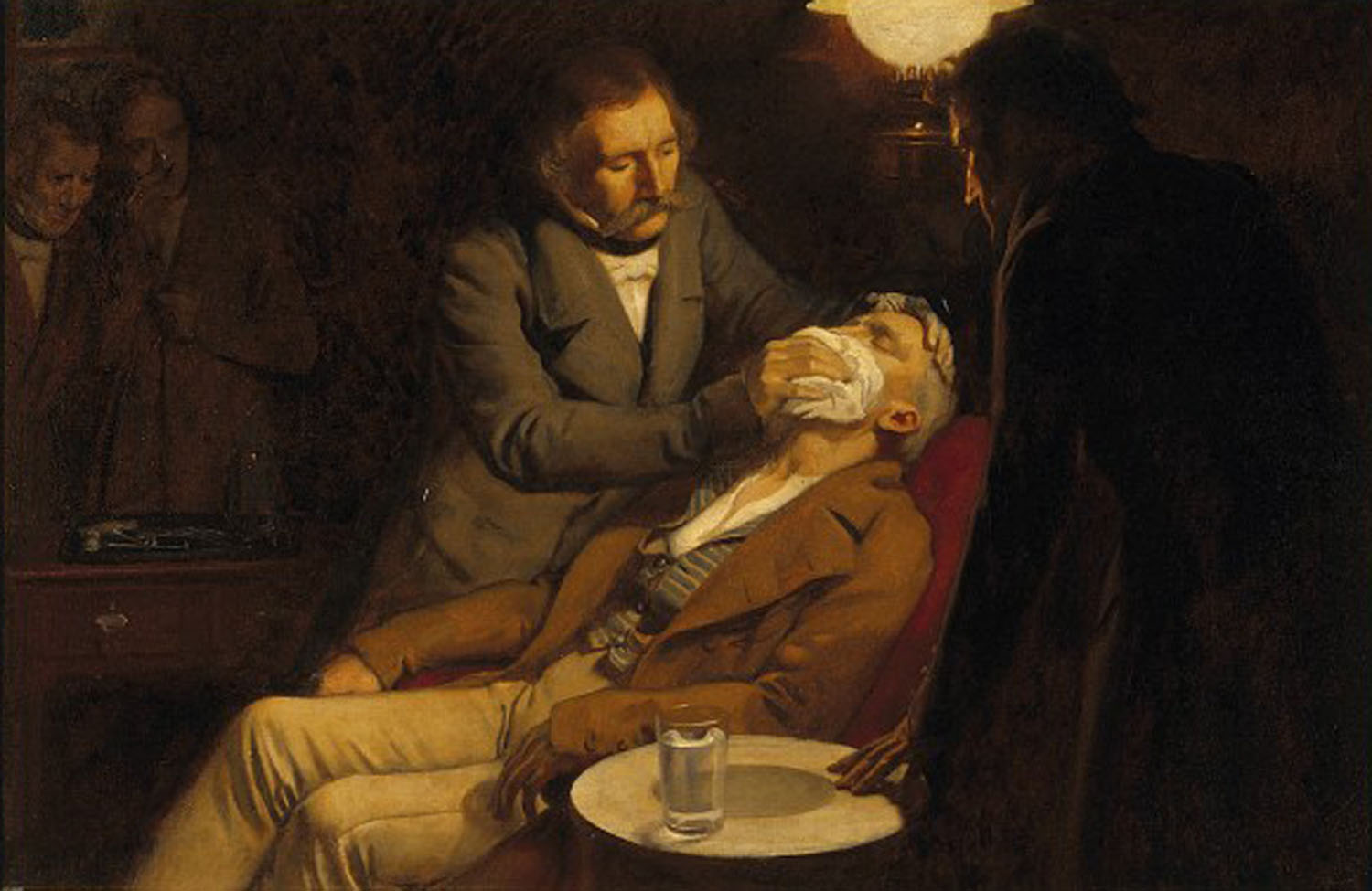 Oil painting depicting William Morton applying ether to a reclining patient in front of a small audience