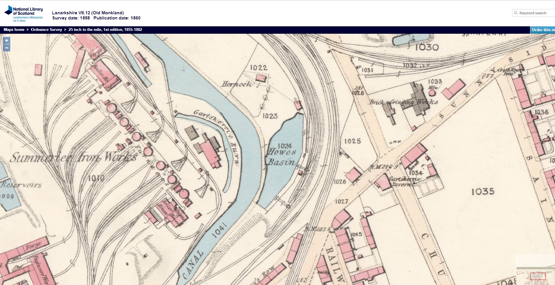 Howes Basin surveyed in 1858 from the first Ordnance Survey (courtesy of the National Library of Scotland).