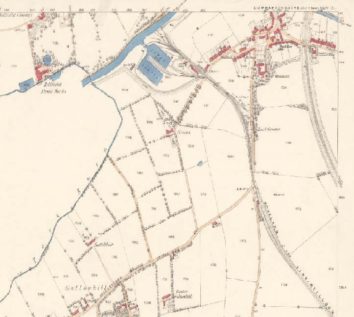 The northern end of the Monkland & Kirkintilloch Railway met the Forth & Clyde Canal at Kirkintilloch Basin. From the 1st edition OS map, surveyed in 1859. A screenshot from the National Library of Scotland's online maps.